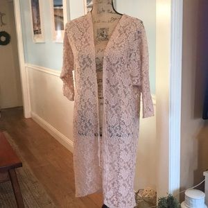 Dainty soft rose color cover up throw size Large